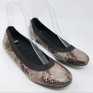 Stuart Weitzman Ballet Flats Shoes Snake Brown